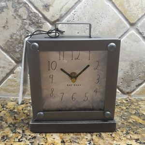 Rae Dunn Metal clock with Wooden Stand